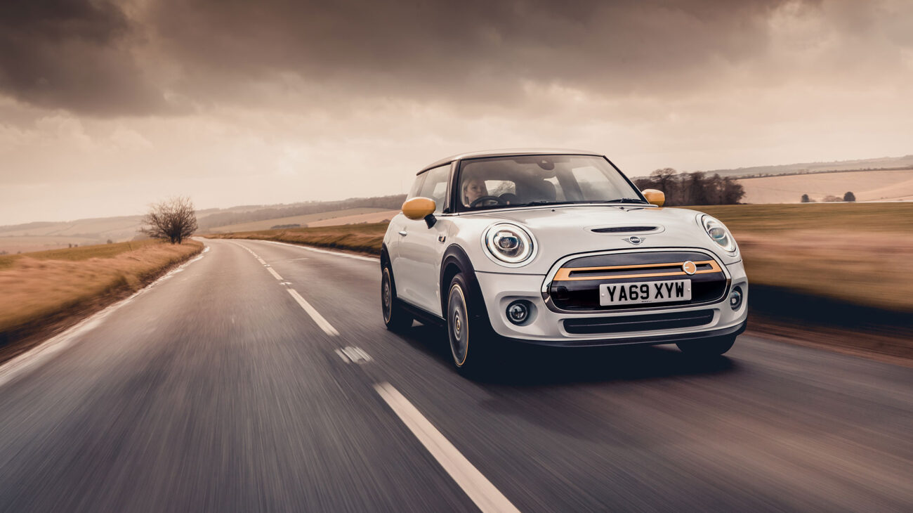 Electric Mini on the road