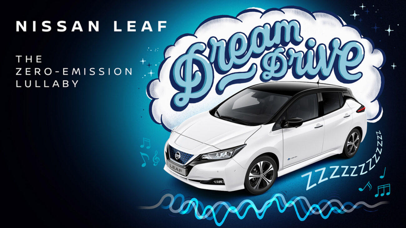 A Nissan Leaf with Dream Drive written above