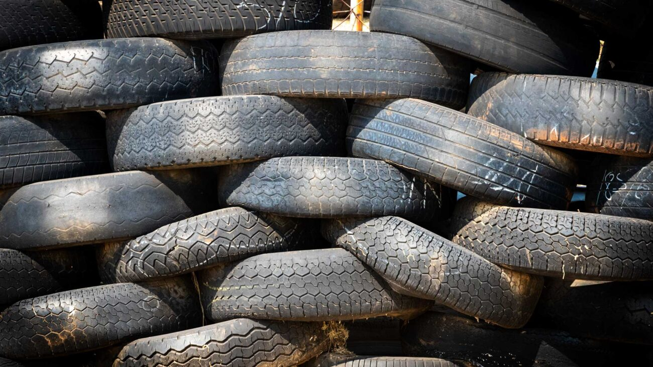 A stack of old worn tyres