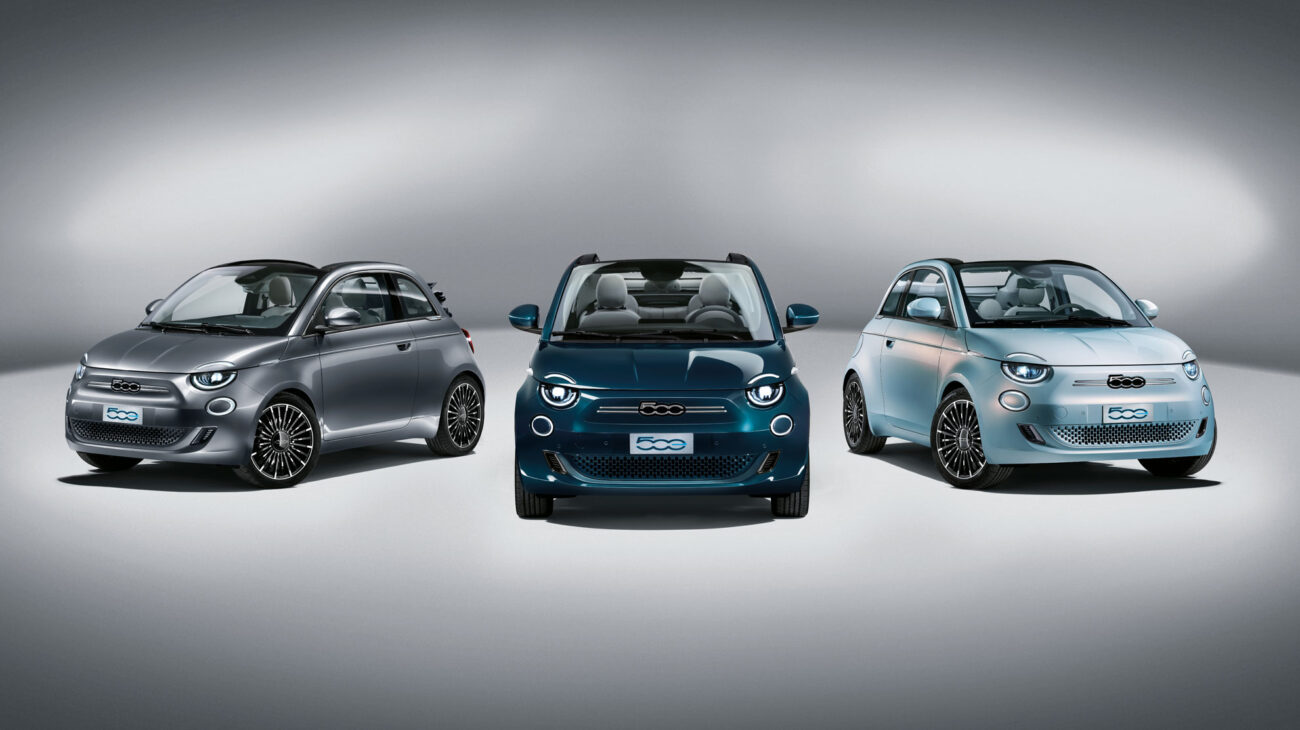 3 versions of the fiat 500 electric in a row