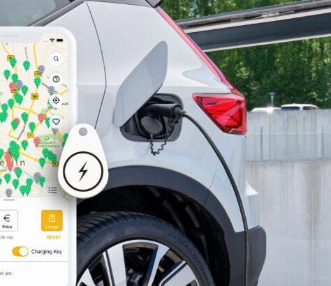 mobile with map of various charging stations with an EV plugged in