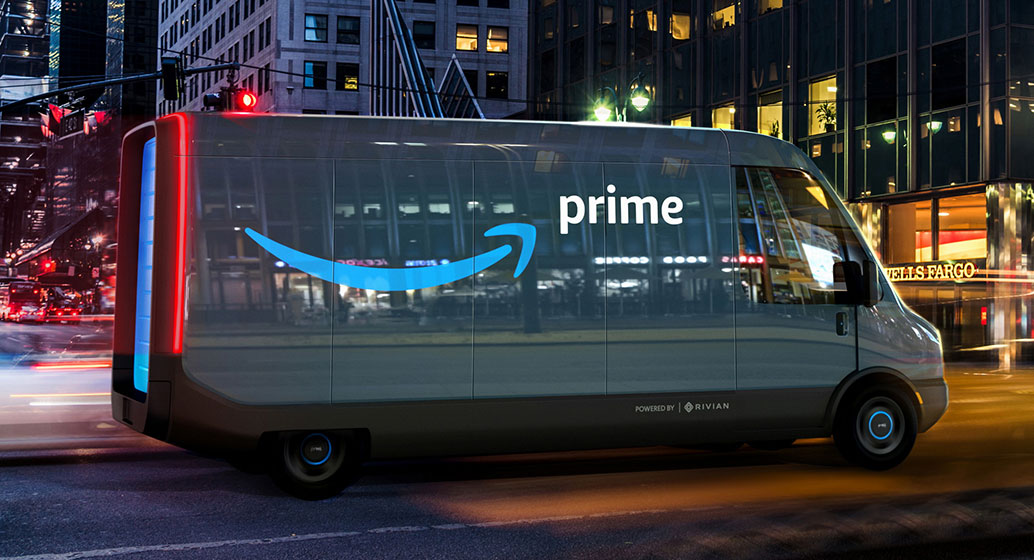 Amazon delivery van developed by Rivian.  Amazon currently operate thousands of electric vehicles worldwide and is redesigning its delivery stations to service electric vehicles.
