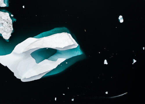 Arctic icebergs and boat