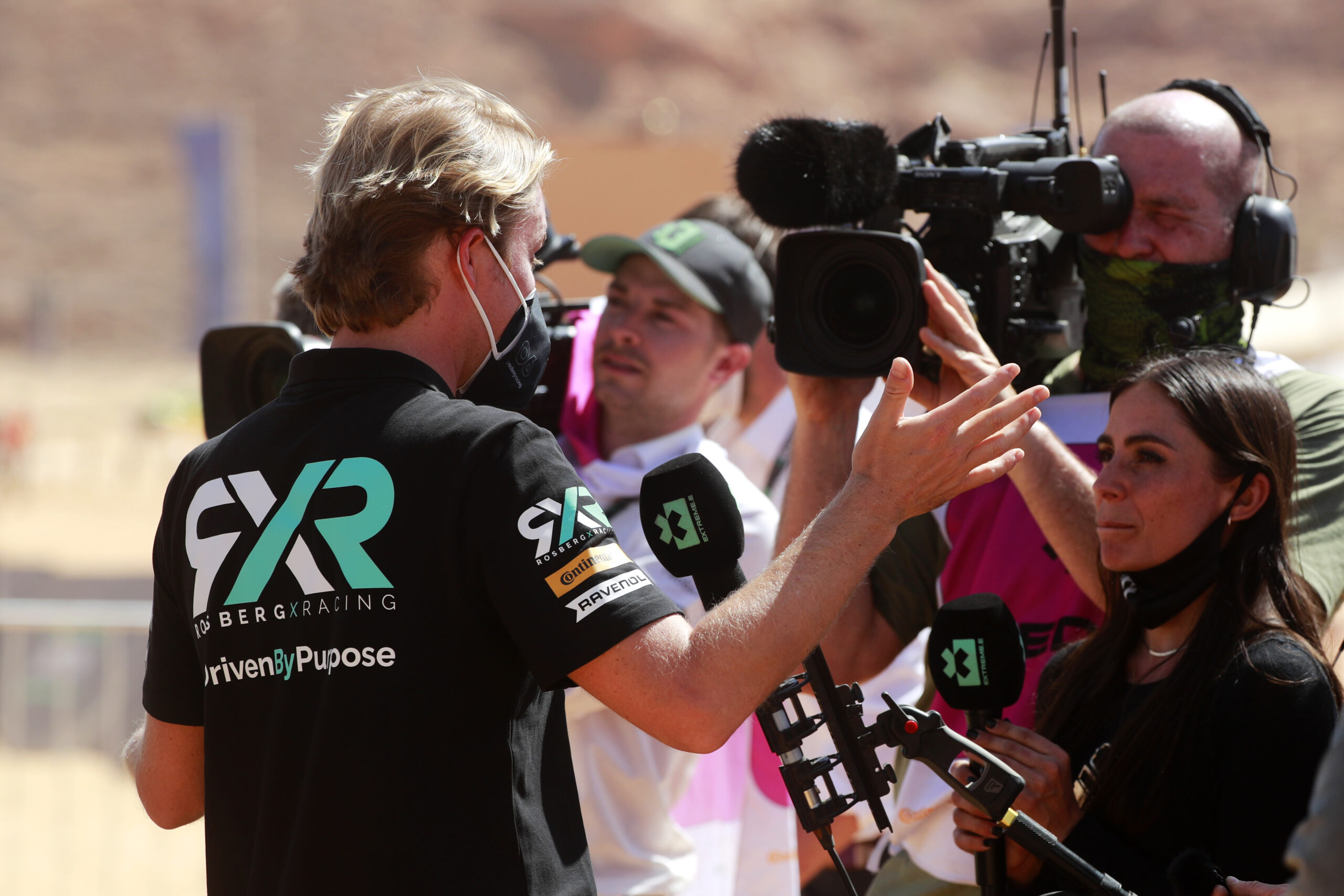 Nico Rosberg, founder and CEO, Rosberg X Racing, is interviewed by Extreme E during the Desert X-Prix,  April 04, 2021 in AlUla, Saudi Arabia. (Photo by Steven Tee / LAT Images)