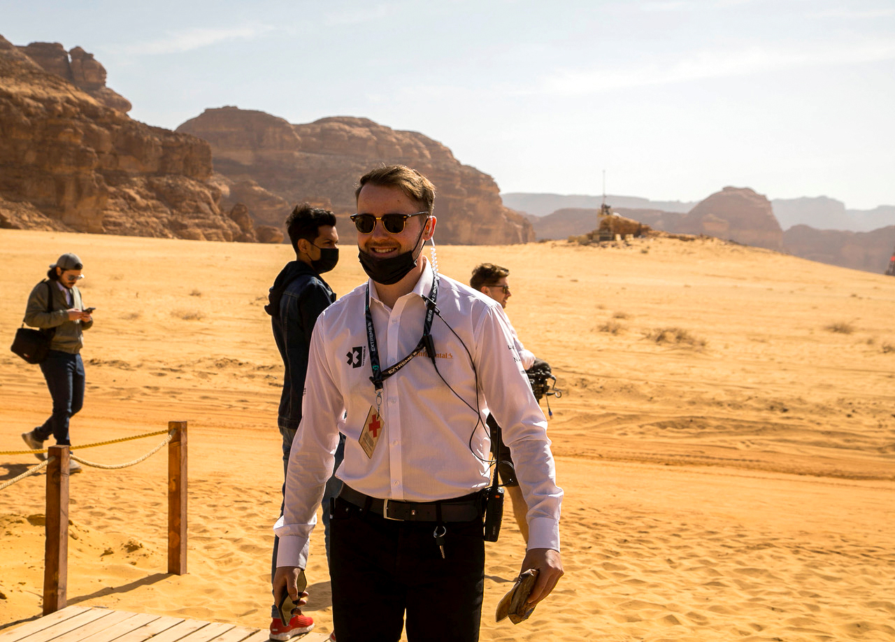 Harry Ellard, Catering & Hospitality Manager at Extreme E overseeing the Catering at the Desert X Prix Al-Ula, Saudi Arabia