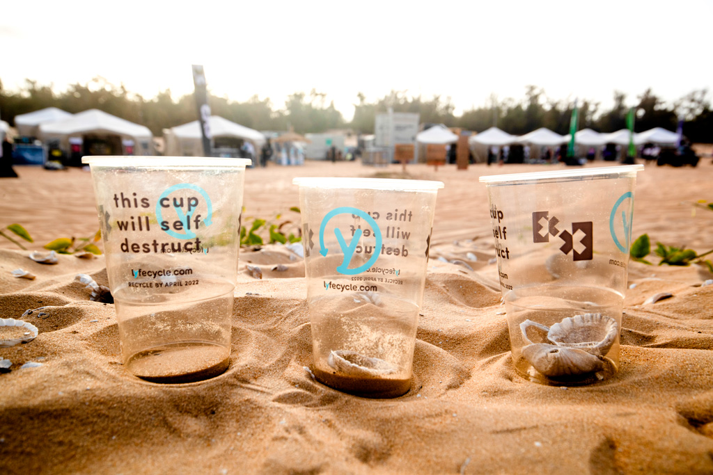 Biodegradeable cups developed by Polymateria and used at the Extreme E events.