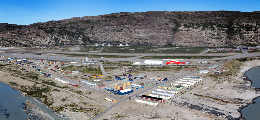 View of Kangerlussuaq village with the international airport, which is Greenland's main air transport hub.