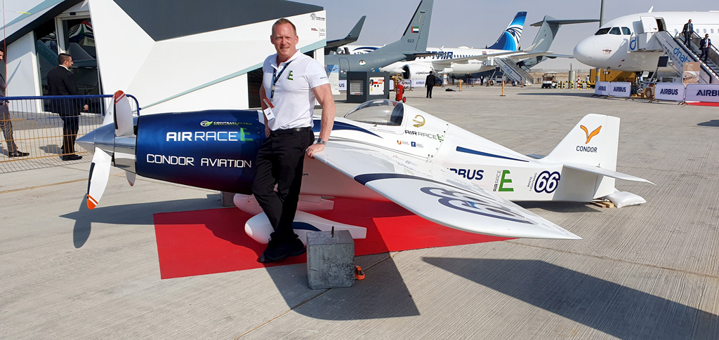 Jeff Zaltman unveiling of worlds first electric airplane at the Dubai Airshow 2019