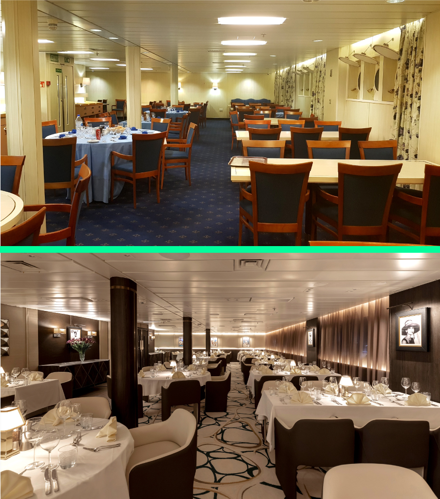 A before and after of the restaurant