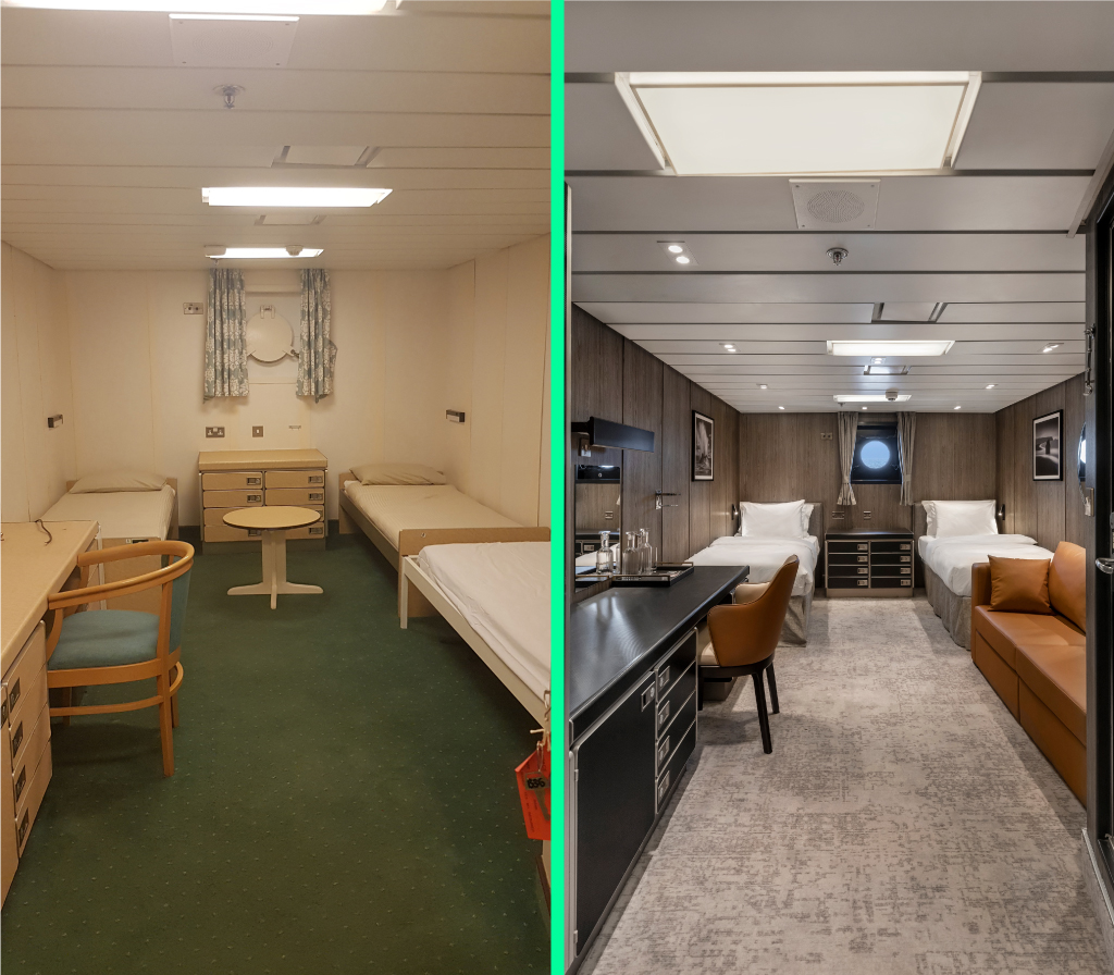 A before and after of the cabins