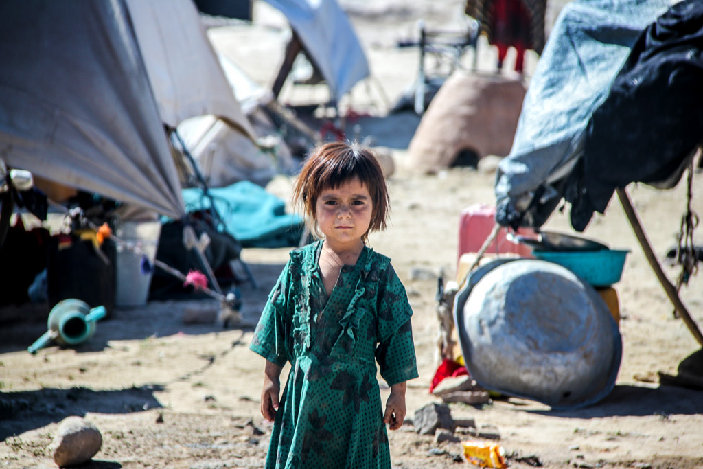 Refugee children after the collapse of the country in August 2021 by the Taliban in the North of the country