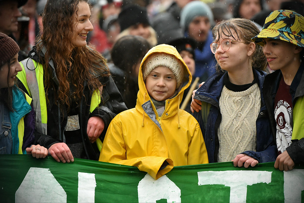 Environment activist, Greta Thunberg, demonstrates during a Bristol Youth Strike 4 Climate (BYS4C) rally in 2020