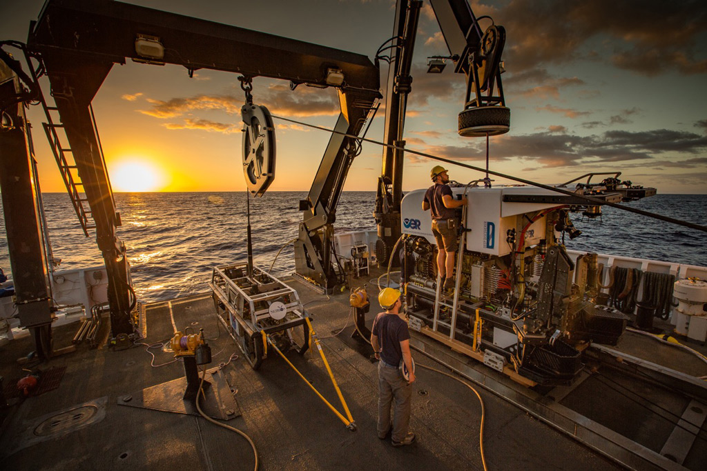 Remotely operated vehicle Deep Discoverer being prepared for deployment.